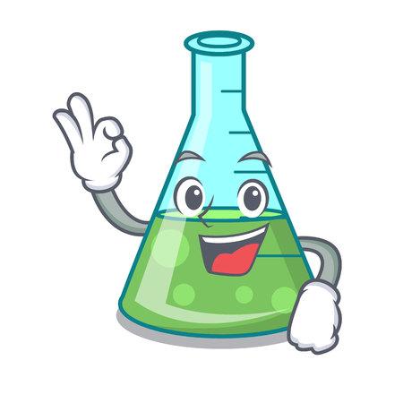 Okay science beaker character cartoon