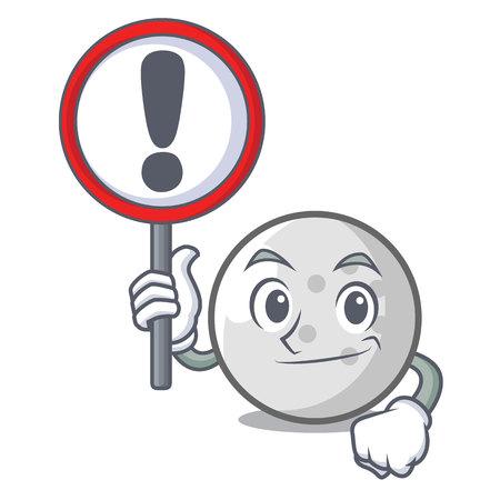With sign golf ball character cartoon vector illustration Illustration