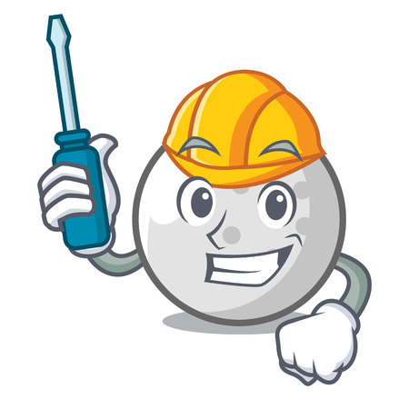 Automotive golf ball mascot cartoon vector illustration Illustration