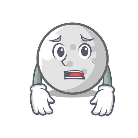 Afraid golf ball mascot cartoon vector illustration