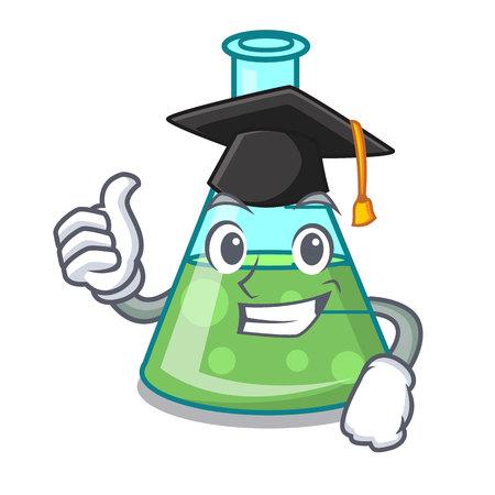 Graduation science beaker character cartoon vector illustration Stock Illustratie