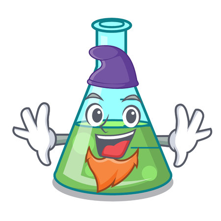 Elf science beaker character cartoon vector illustration