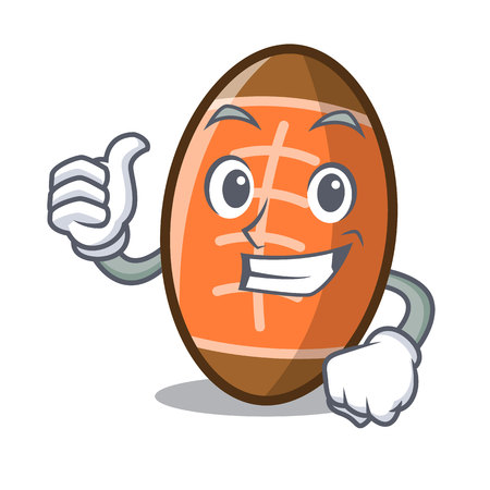 Thumbs up rugby ball character cartoon vector illustration