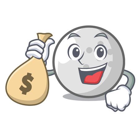 With money bag golf ball character cartoon vector illustration