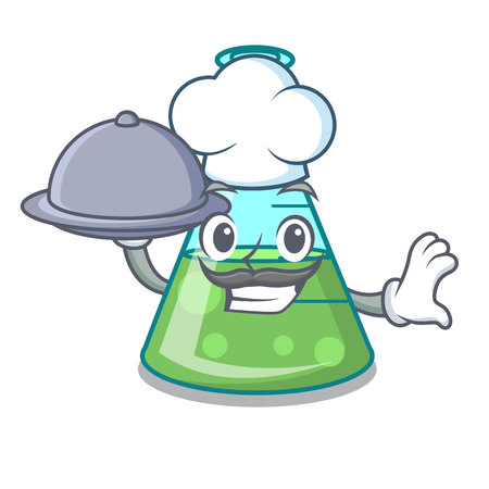 Chef with food science beaker mascot cartoon vector illustration 向量圖像