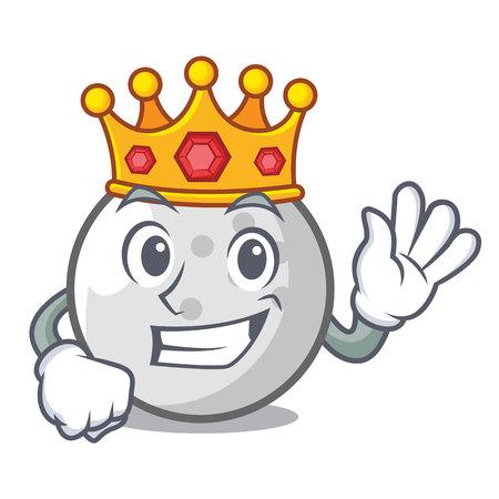 King golf ball mascot cartoon vector illustration