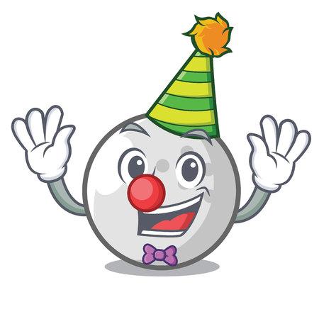 Clown golf ball mascot cartoon vector illustration Illustration