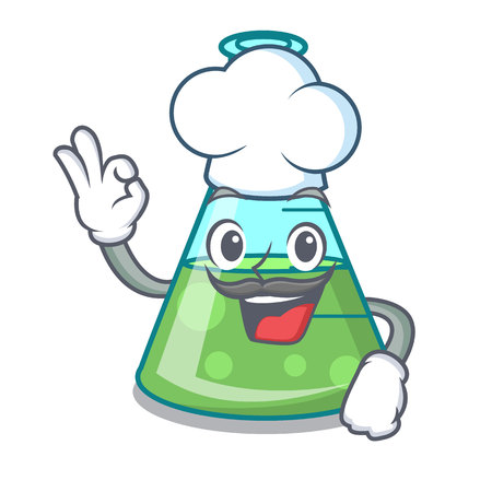 Chef science beaker character cartoon vector illustration Stock Illustratie