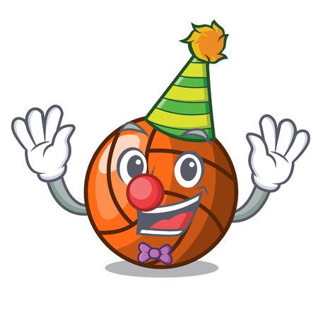 Clown volleyball mascot cartoon style vector ilustration