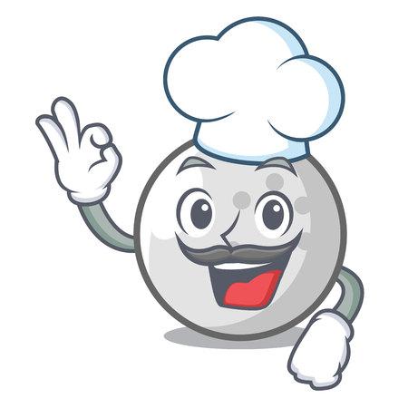 Chef golf ball character cartoon vector illustration