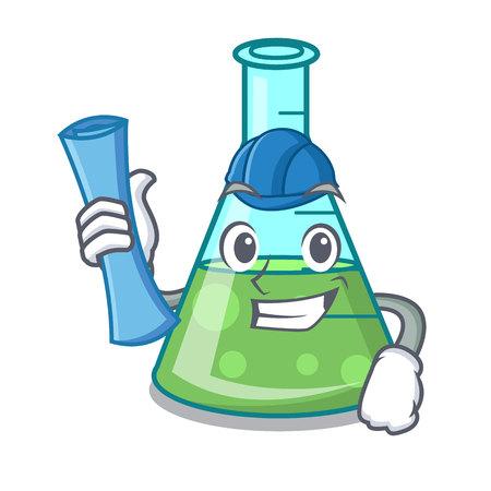 Architect science beaker character cartoon vector illustration Stock Illustratie