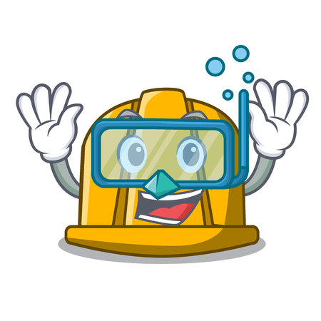 Diving construction helmet character cartoon vector illustration