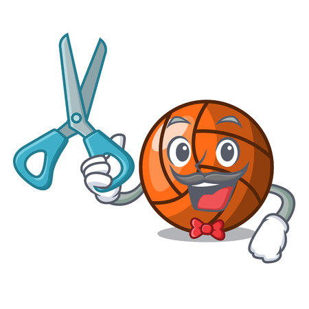 Barber volleyball character cartoon style vector ilustration