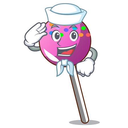 Sailor lollipop with sprinkles character cartoon vector illustration