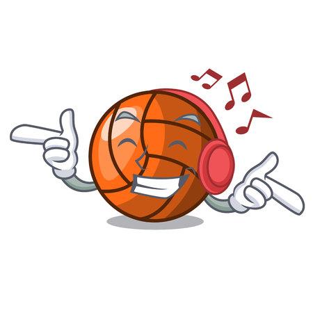 Listening music volleyball mascot cartoon style vector ilustration