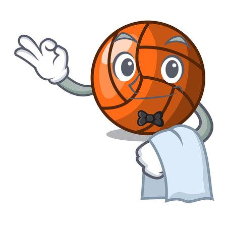 Waiter volleyball mascot cartoon style vector ilustration