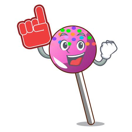Foam finger lollipop with sprinkles mascot cartoon vector illustration