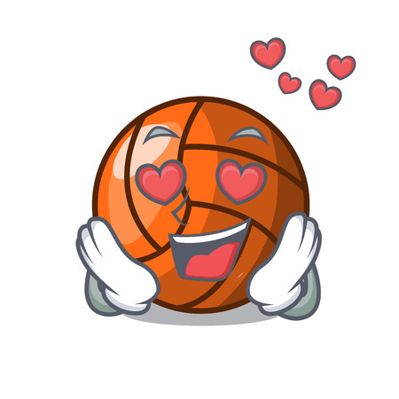 In love volleyball mascot cartoon style vector ilustration