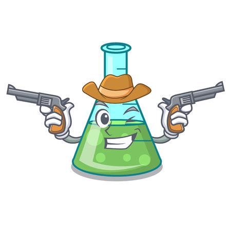 Cowboy science beaker character cartoon vector illustration
