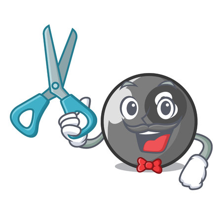 Barber billiard ball character cartoon vector illustration