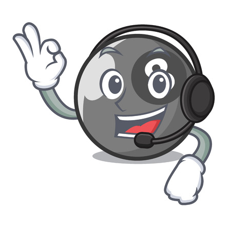 With headphone billiard ball mascot cartoon vector illustration