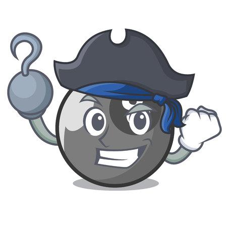 Pirate billiard ball character cartoon Illustration