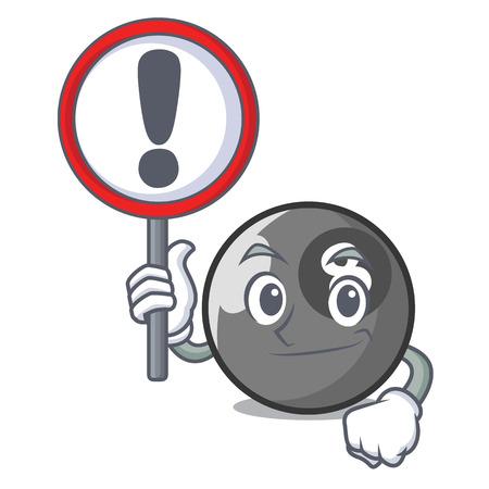 With sign billiard ball character cartoon vector illustration