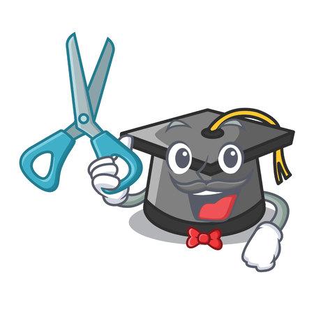 Barber graduation hat character cartoon vector illustration 矢量图像