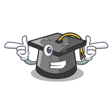 Wink graduation hat character cartoon vector illustration