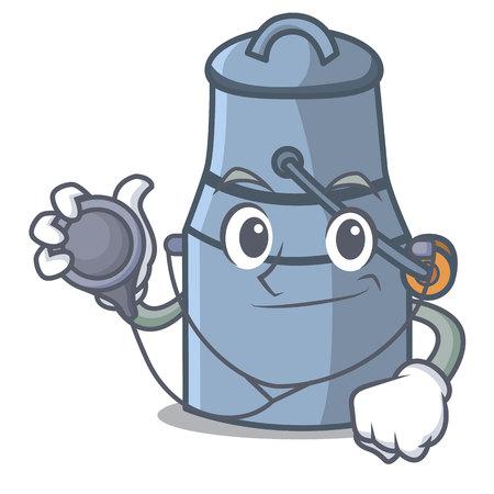 Doctor milk can character cartoon vector illustration