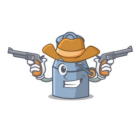Cowboy milk can character cartoon vector illustration