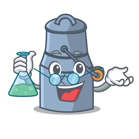 Professor milk can character cartoon vector illustration