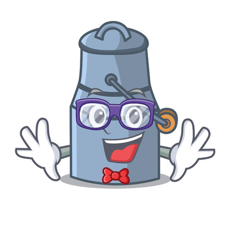 Geek milk can character cartoon vector illustration