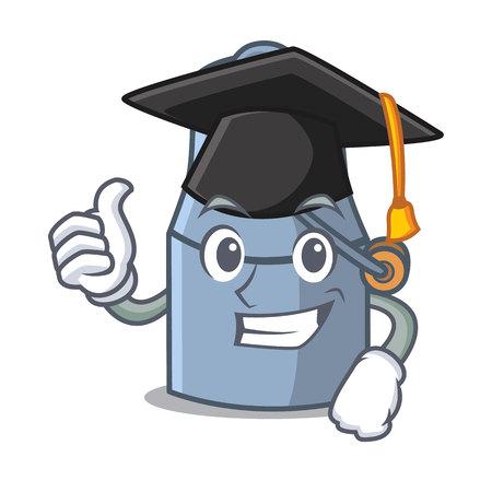 Graduation milk can character cartoon vector illustration