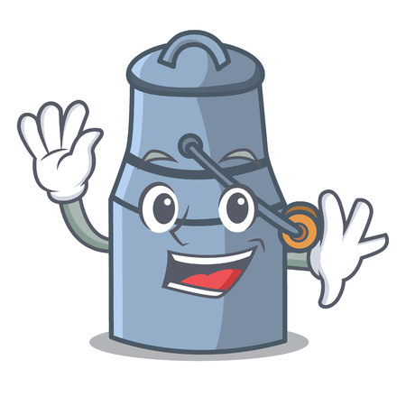 Waving milk can character cartoon vector illustration