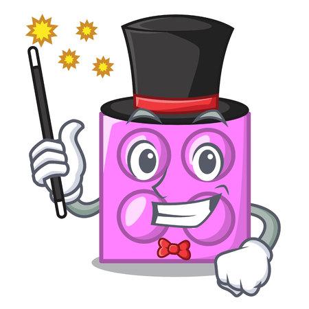 Magician toy brick mascot cartoon vector illustration