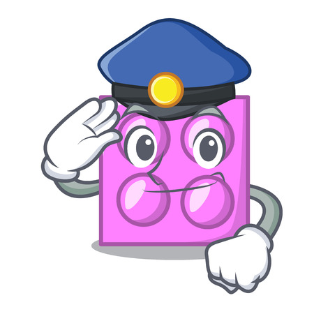 Police toy brick character cartoon vector illustration