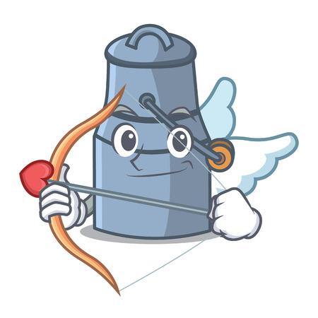 Cupid milk can character cartoon vector illustration
