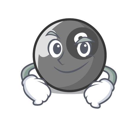 Smirking billiard ball character cartoon vector illustration Illustration