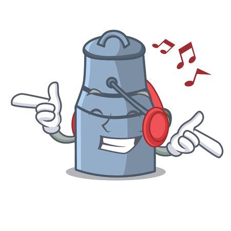 Listening music milk can mascot cartoon vector illustration