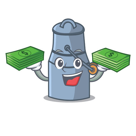 With money milk can mascot cartoon vector illustration