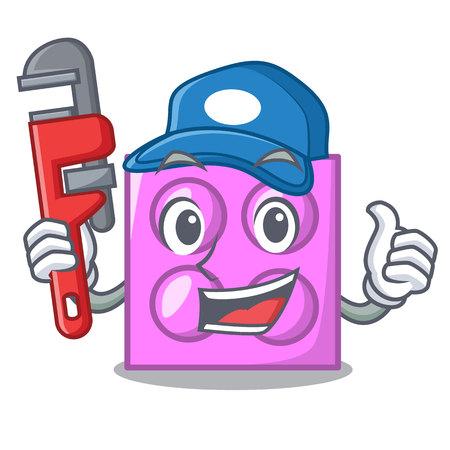 Plumber toy brick mascot cartoon
