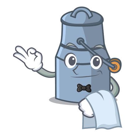 Waiter milk can mascot cartoon