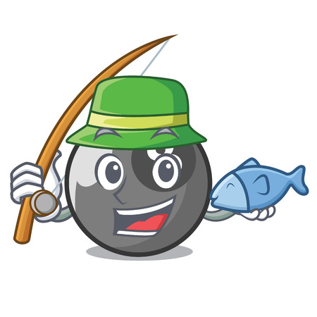 Fishing billiard ball mascot cartoon vector illustration 版權商用圖片