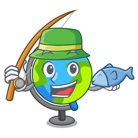 Fishing globe mascot cartoon style vector illustration