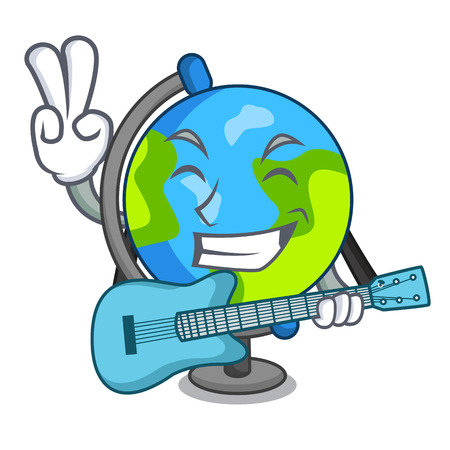 With guitar globe mascot cartoon style vector illustration 向量圖像