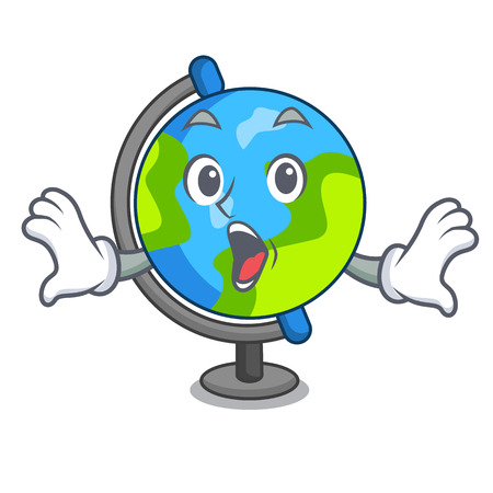 Surprised globe mascot cartoon style vector illustration Stock Illustratie