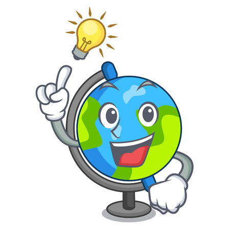 Have an idea globe mascot cartoon style vector illustration