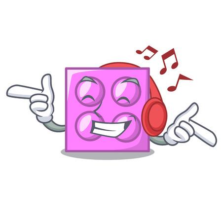 Listening music toy brick mascot cartoon vector illustration