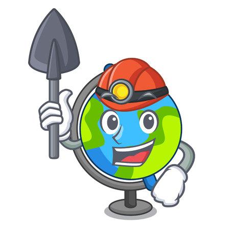 Miner globe mascot cartoon style vector illustration